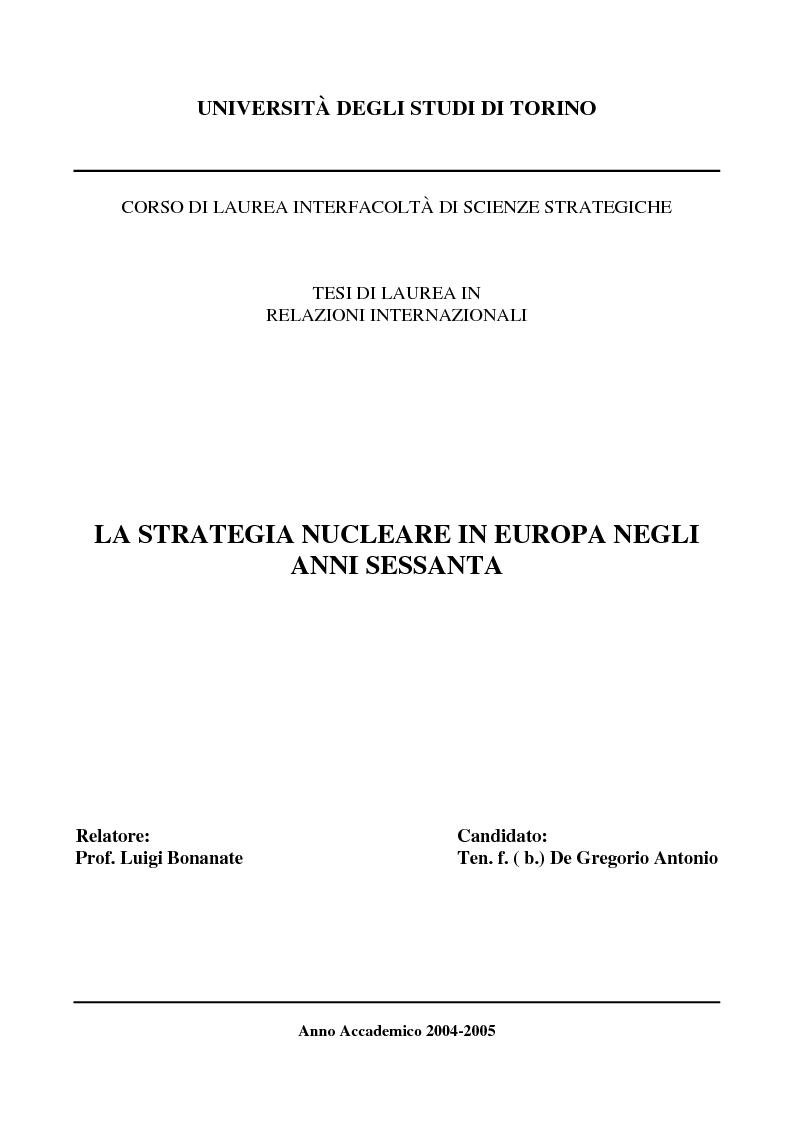 Anteprima della tesi: La Strategia Nucleare in Europa negli anni Sessanta, Pagina 1