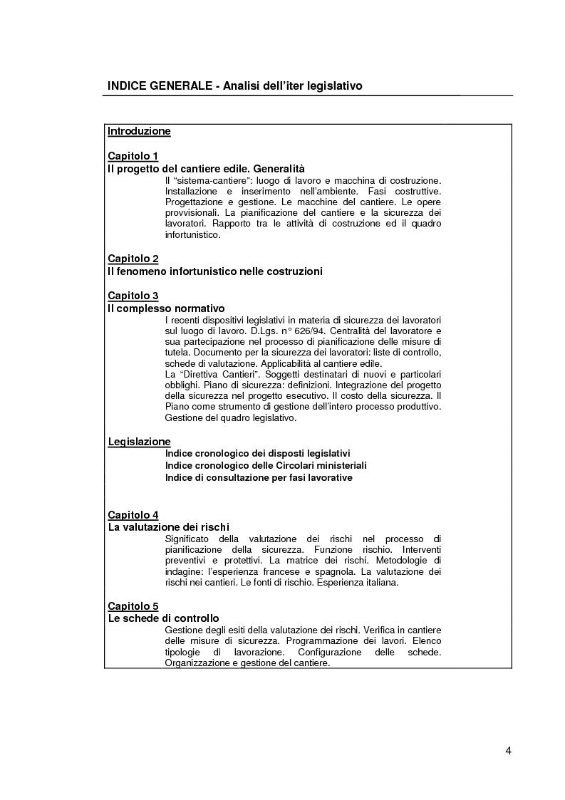 Indice della tesi: Il progetto della sicurezza nei cantieri edili. Analisi dell'iter legislativo e verifiche di fattibilità, Pagina 1