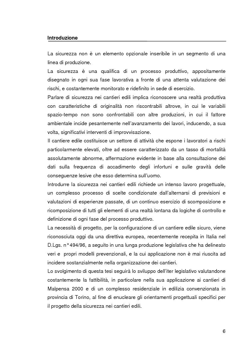 Anteprima della tesi: Il progetto della sicurezza nei cantieri edili. Analisi dell'iter legislativo e verifiche di fattibilità, Pagina 1