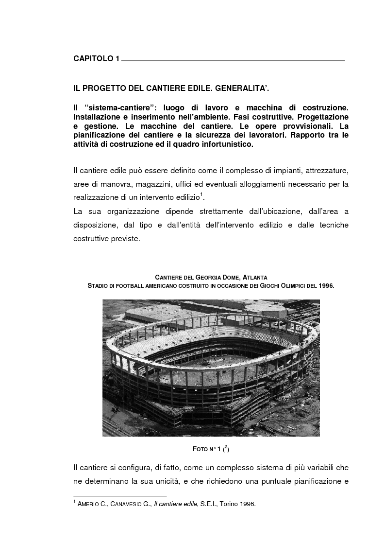 Anteprima della tesi: Il progetto della sicurezza nei cantieri edili. Analisi dell'iter legislativo e verifiche di fattibilità, Pagina 2