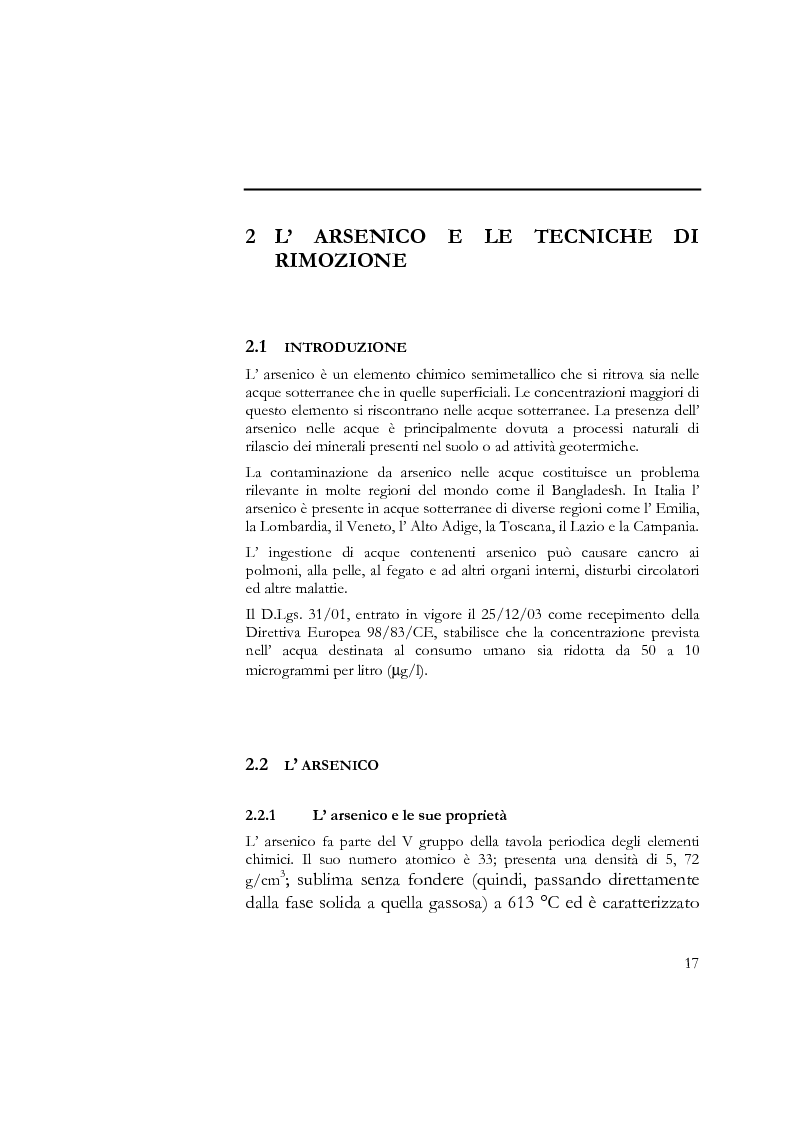 Anteprima della tesi: Indagine sull'applicabilità del chitosano nella rimozione di ioni arseniato dalle acque destinate al consumo umano, Pagina 5