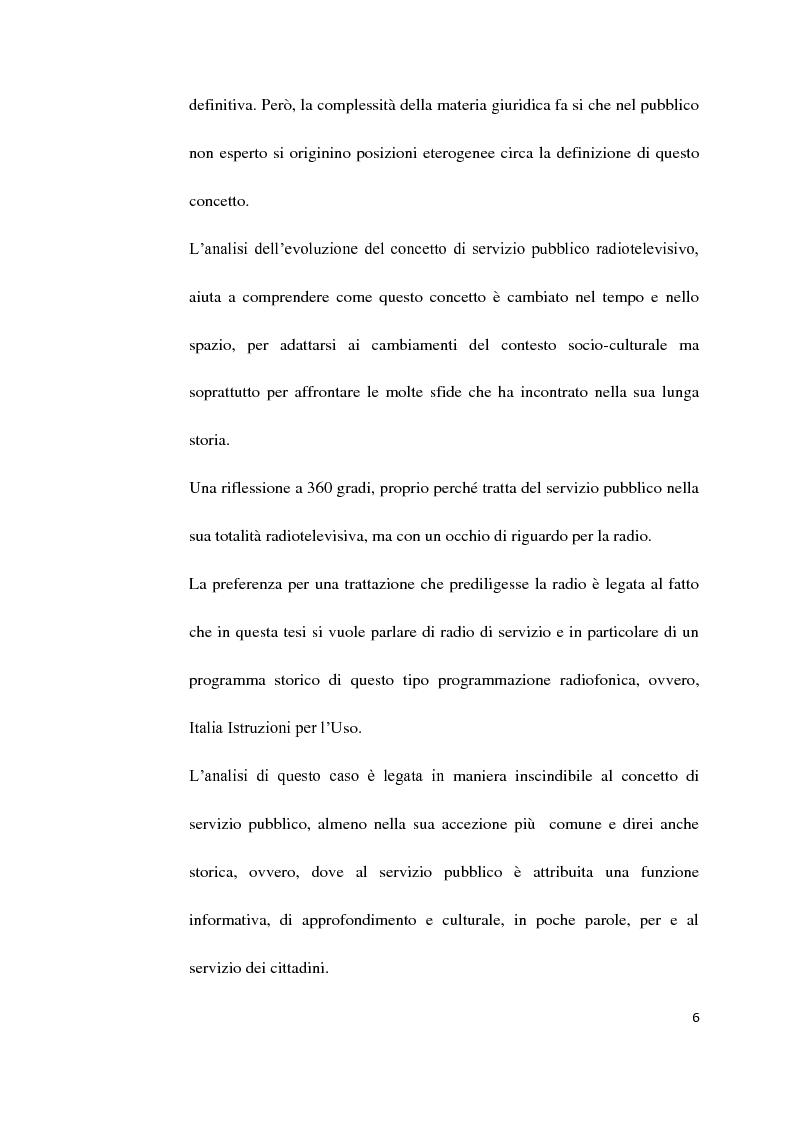 Anteprima della tesi: Il Servizio Pubblico e la Radio di Servizio: Il caso Italia Istruzioni per L'uso, Pagina 4