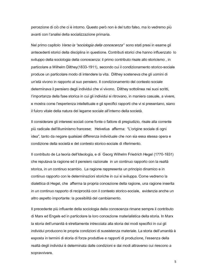 Anteprima della tesi: Costruzione sociale della realtà e vita quotidiana: il contributo di Berger e Luckmann alla sociologia della conoscenza, Pagina 4