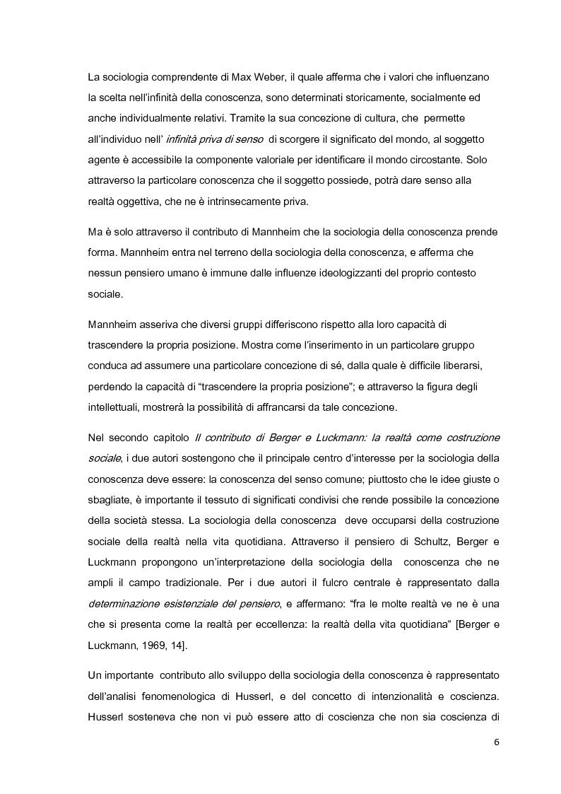 Anteprima della tesi: Costruzione sociale della realtà e vita quotidiana: il contributo di Berger e Luckmann alla sociologia della conoscenza, Pagina 5