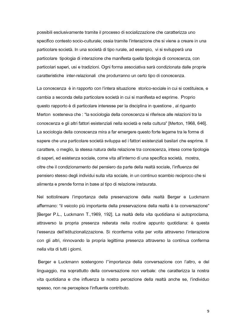 Anteprima della tesi: Costruzione sociale della realtà e vita quotidiana: il contributo di Berger e Luckmann alla sociologia della conoscenza, Pagina 8