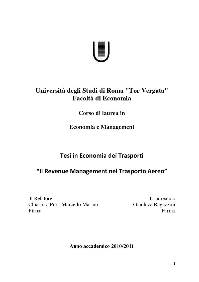 Anteprima della tesi: Il Revenue Management Nel Trasporto Aereo, Pagina 1