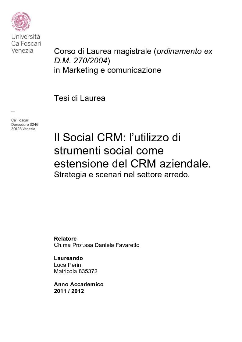 Anteprima della tesi: Social CRM: l'utilizzo di strumenti social come estensione del CRM aziendale. Strategie e scenari nel settore arredo., Pagina 1
