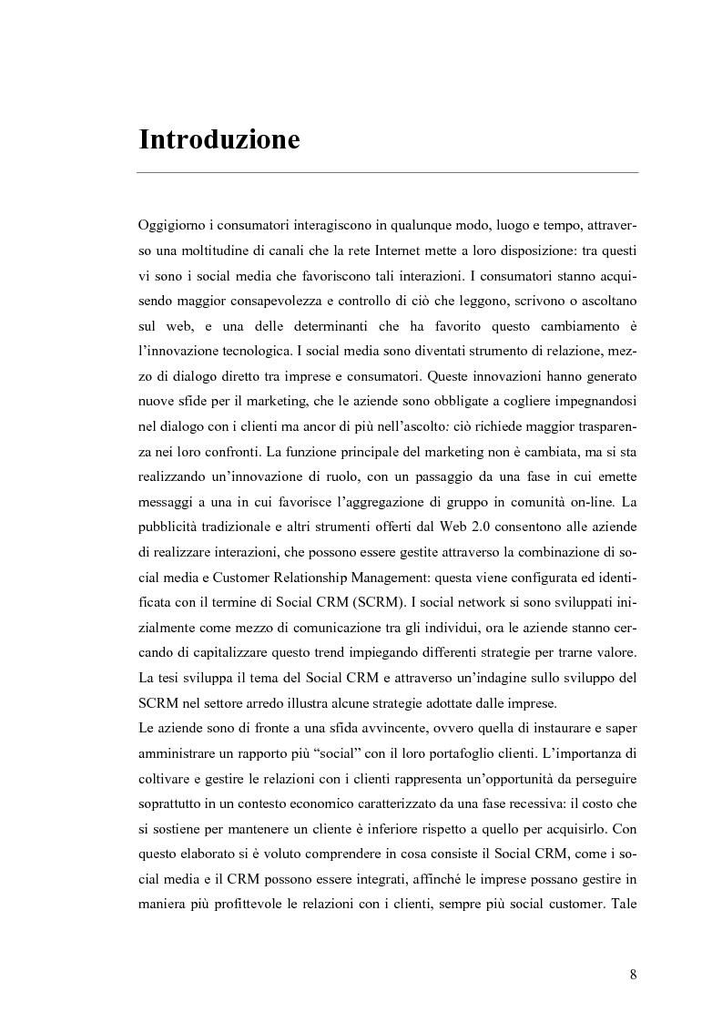 Anteprima della tesi: Social CRM: l'utilizzo di strumenti social come estensione del CRM aziendale. Strategie e scenari nel settore arredo., Pagina 2