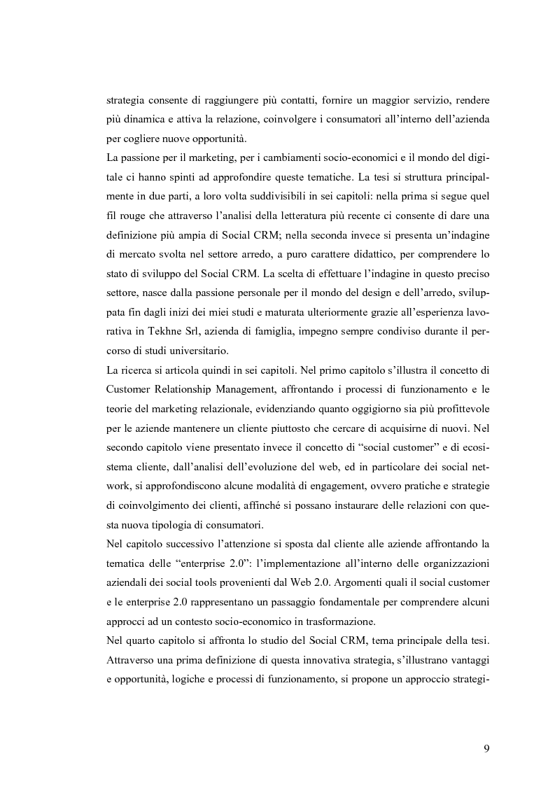 Anteprima della tesi: Social CRM: l'utilizzo di strumenti social come estensione del CRM aziendale. Strategie e scenari nel settore arredo., Pagina 3