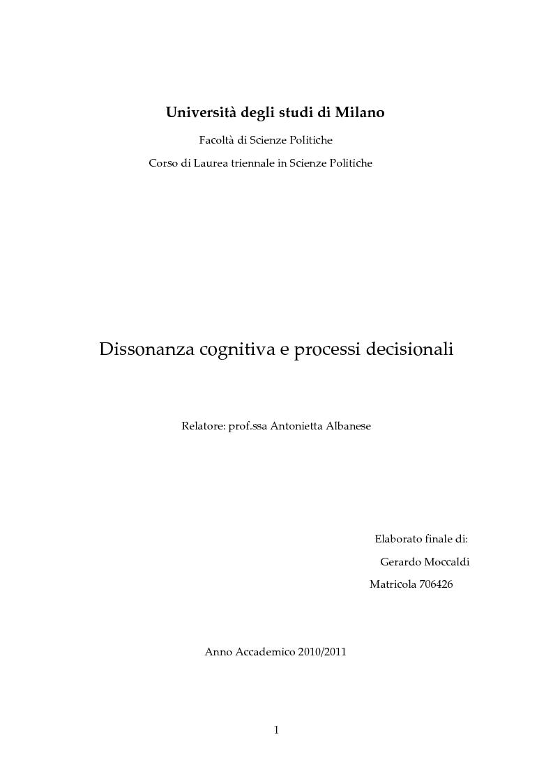 Anteprima della tesi: Dissonanza Cognitiva e Processi Decisionali, Pagina 1