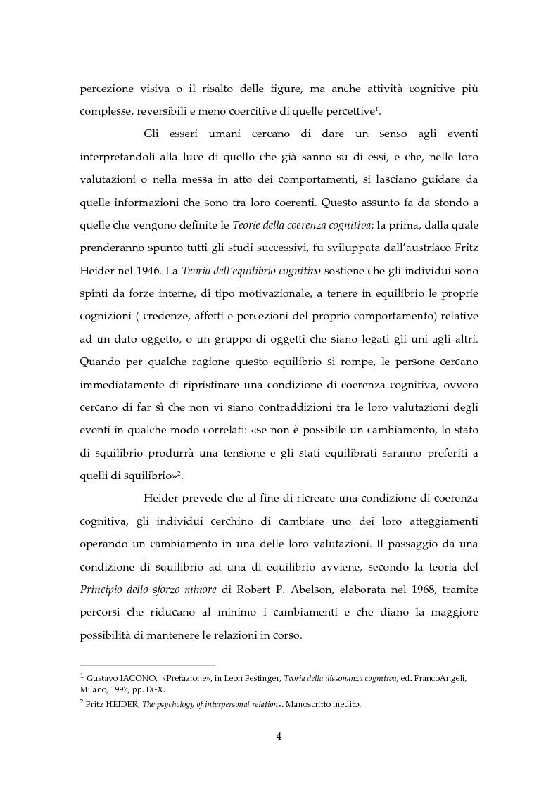 Anteprima della tesi: Dissonanza Cognitiva e Processi Decisionali, Pagina 3
