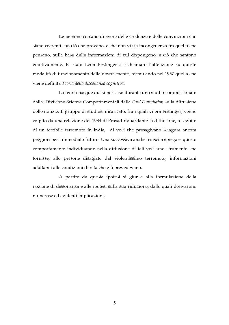 Anteprima della tesi: Dissonanza Cognitiva e Processi Decisionali, Pagina 4
