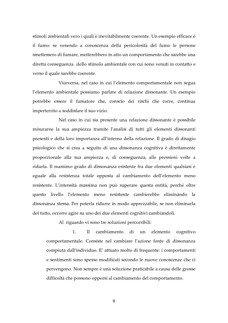 Anteprima della tesi: Dissonanza Cognitiva e Processi Decisionali, Pagina 7
