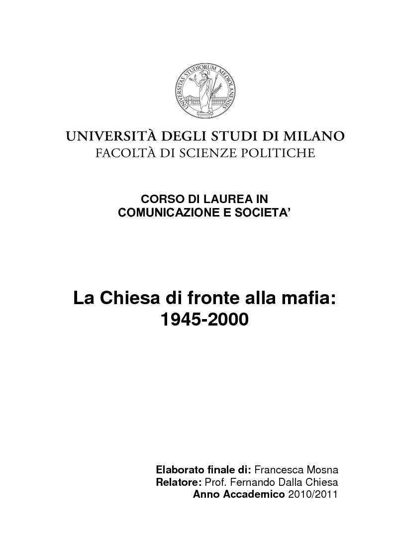 Anteprima della tesi: La Chiesa di fronte alla mafia: 1945-2000, Pagina 1