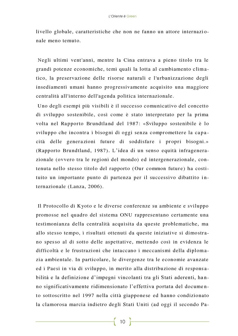 Anteprima della tesi: L'Oriente è Green - Politiche di sviluppo sostenibile e Green Economy in Cina, Pagina 3