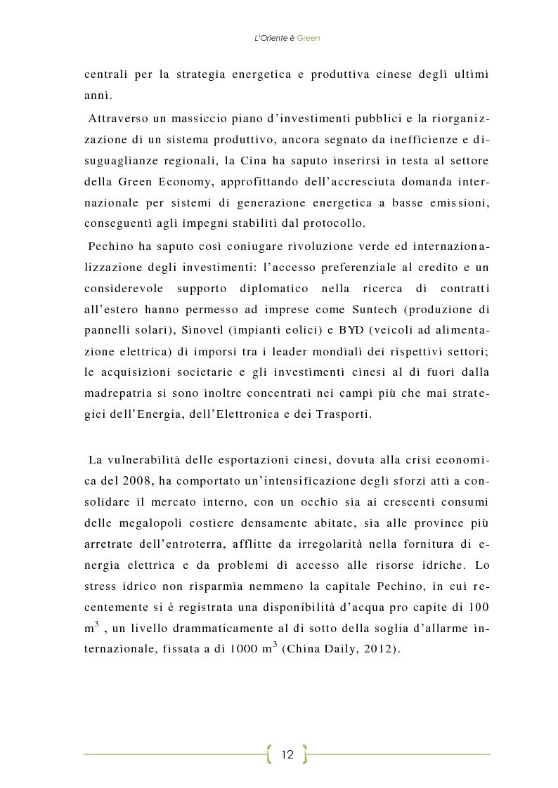 Anteprima della tesi: L'Oriente è Green - Politiche di sviluppo sostenibile e Green Economy in Cina, Pagina 5