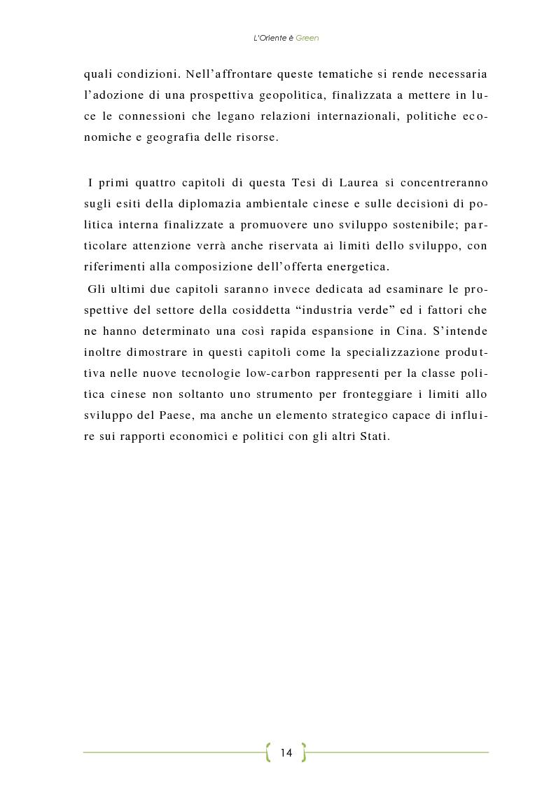 Anteprima della tesi: L'Oriente è Green - Politiche di sviluppo sostenibile e Green Economy in Cina, Pagina 7