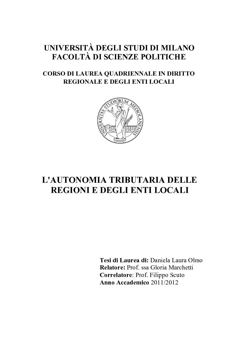 Anteprima della tesi: L'autonomia tributaria delle regioni e degli enti locali, Pagina 1