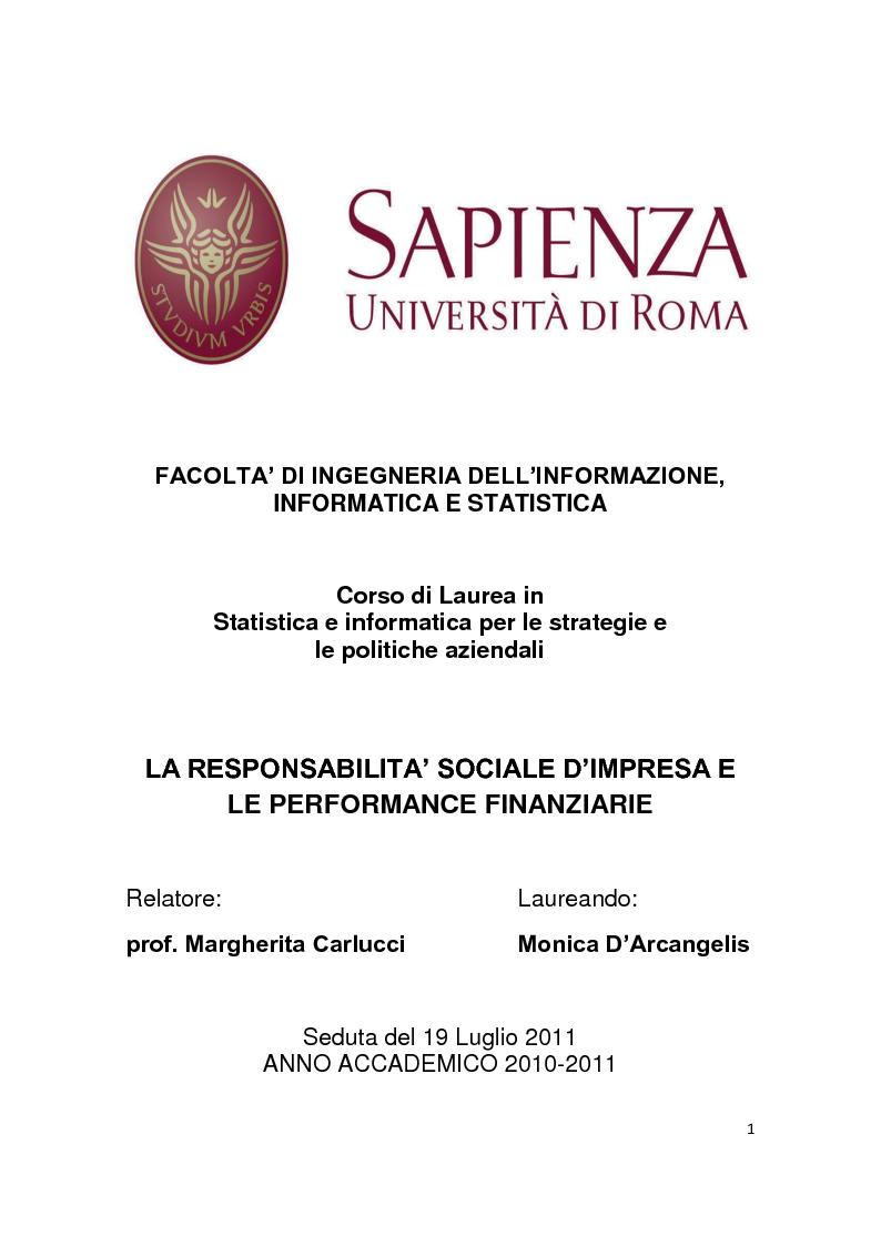 Anteprima della tesi: La Responsabilità sociale d'impresa e le performance finanziarie, Pagina 1