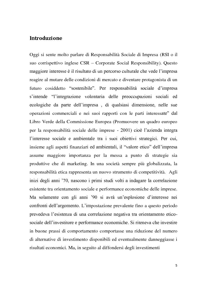 Anteprima della tesi: La Responsabilità sociale d'impresa e le performance finanziarie, Pagina 2