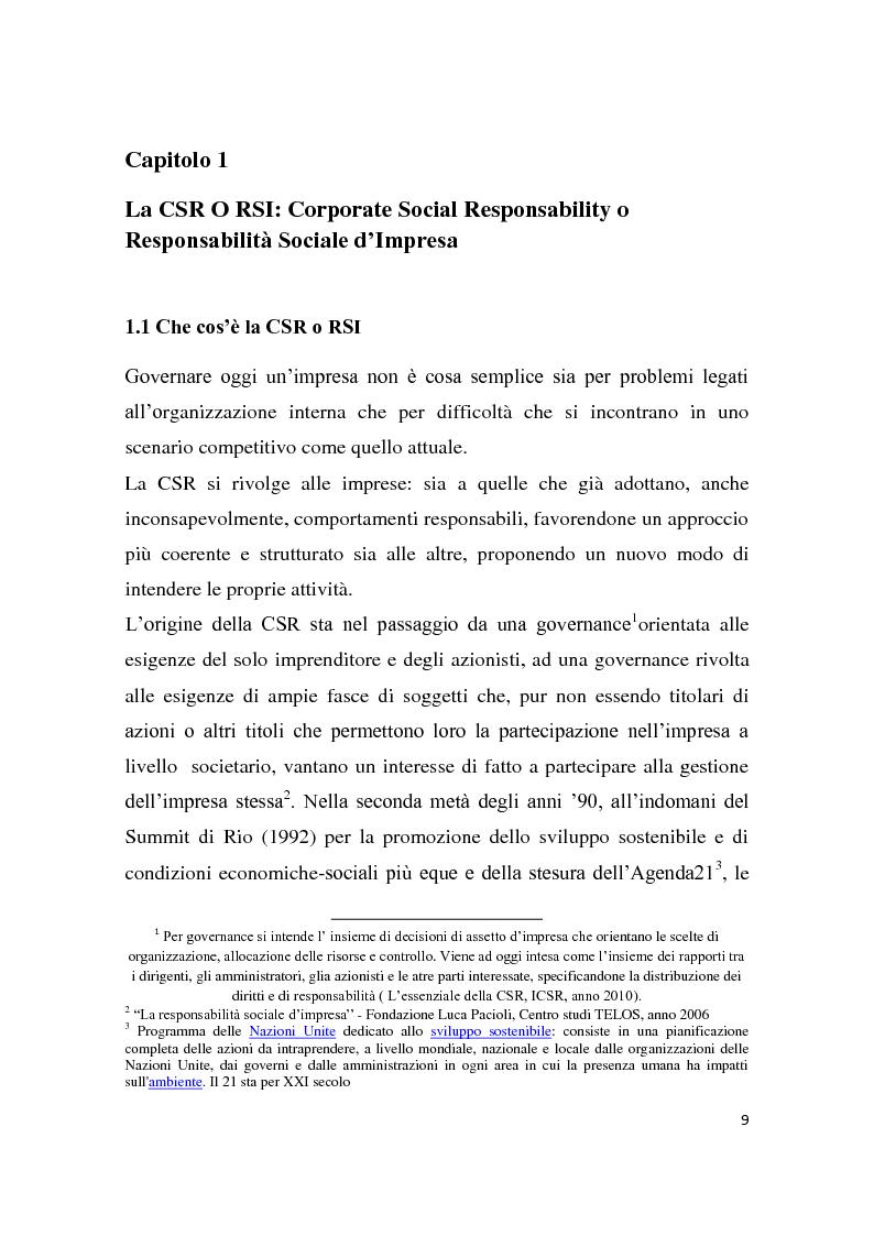 Anteprima della tesi: La Responsabilità sociale d'impresa e le performance finanziarie, Pagina 6