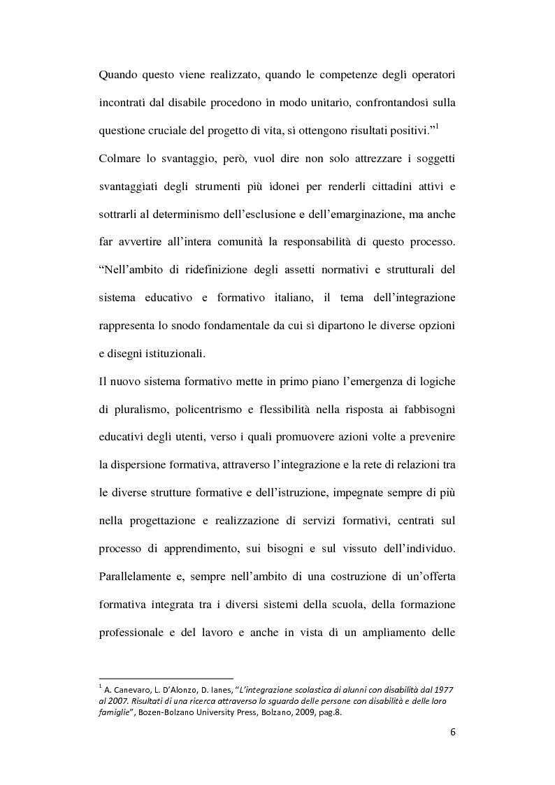 Anteprima della tesi: Diversabilità ed integrazione: riflessioni e strategie per la costruzione di un progetto di vita., Pagina 3
