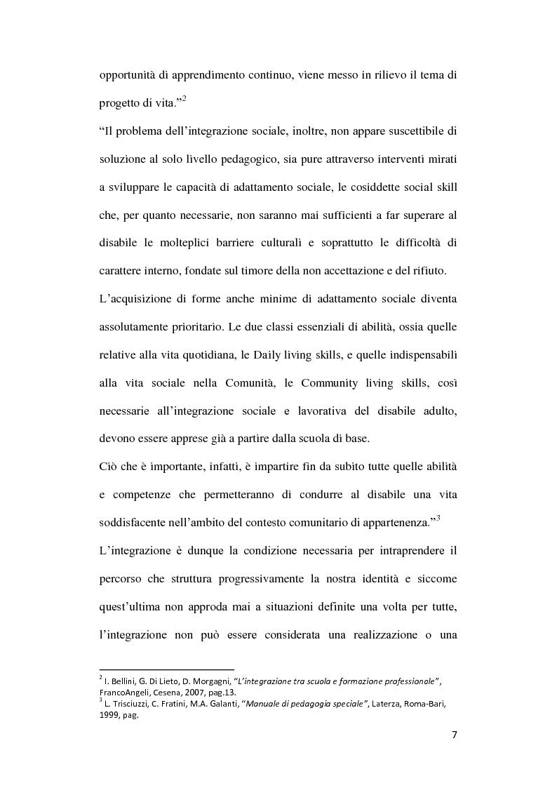 Anteprima della tesi: Diversabilità ed integrazione: riflessioni e strategie per la costruzione di un progetto di vita., Pagina 4