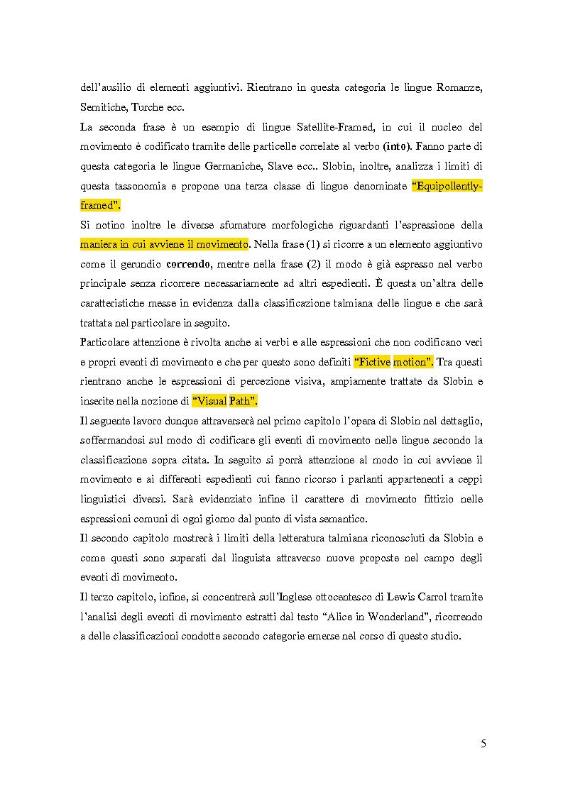 Anteprima della tesi: La codifica grammaticale dello spazio in ''Alice in Wonderland'', Pagina 4