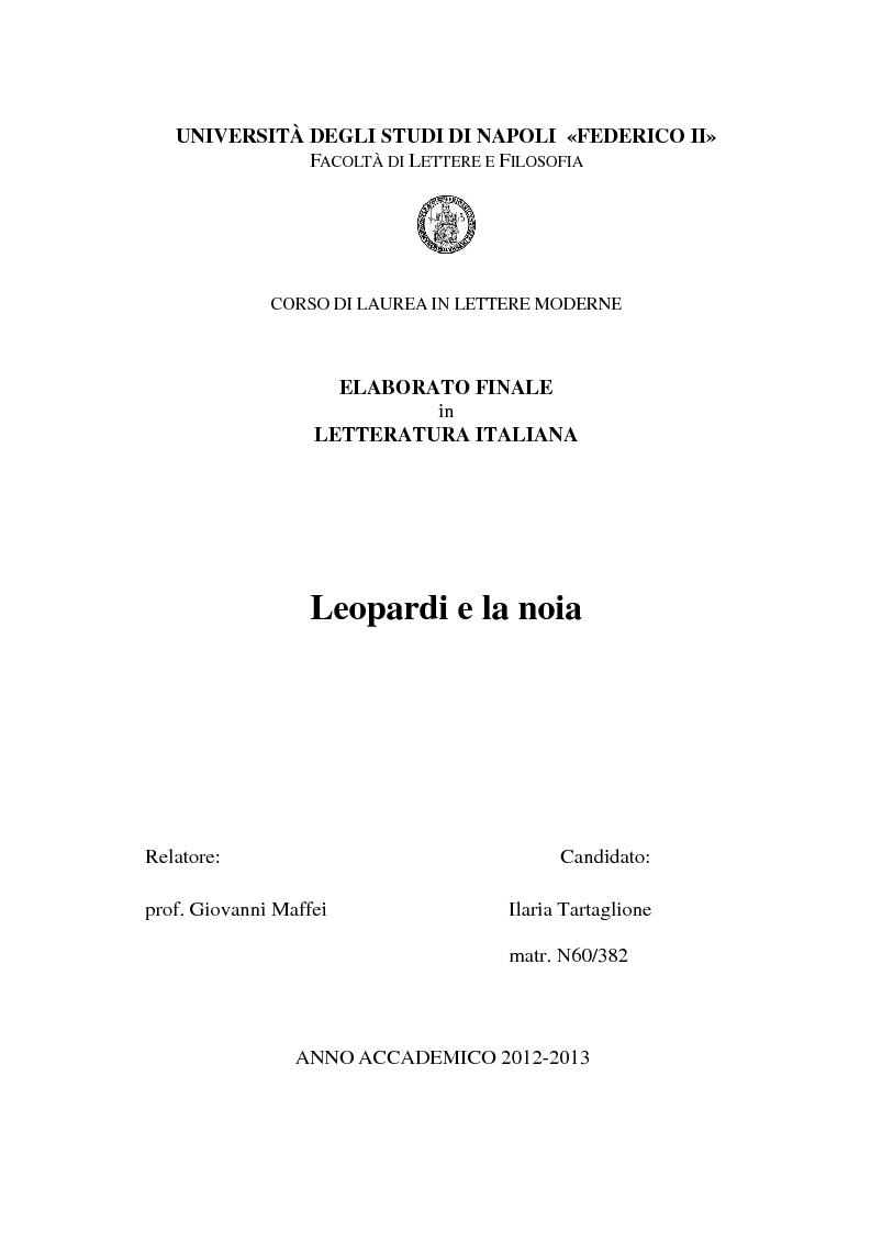 Anteprima della tesi: Leopardi e la noia, Pagina 1