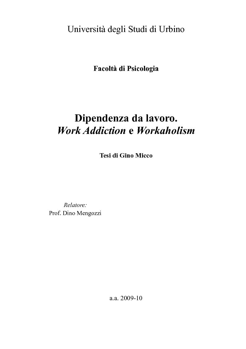 Anteprima della tesi: Dipendenza da lavoro. Work Addiction e Workaholism, Pagina 1