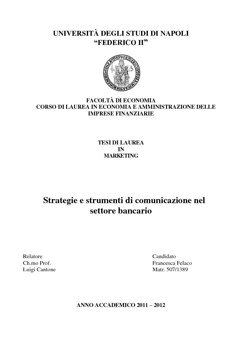 Anteprima della tesi: Strategie e strumenti di comunicazione nel settore bancario, Pagina 1