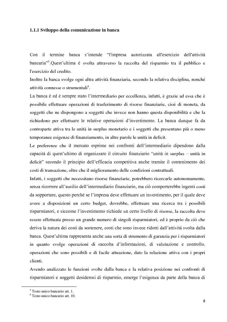 Anteprima della tesi: Strategie e strumenti di comunicazione nel settore bancario, Pagina 9
