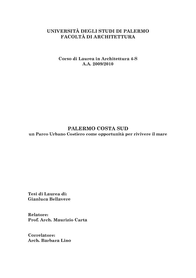 Anteprima della tesi: Palermo Costa Sud - un parco urbano costiero come opportunità per rivivere il mare, Pagina 1