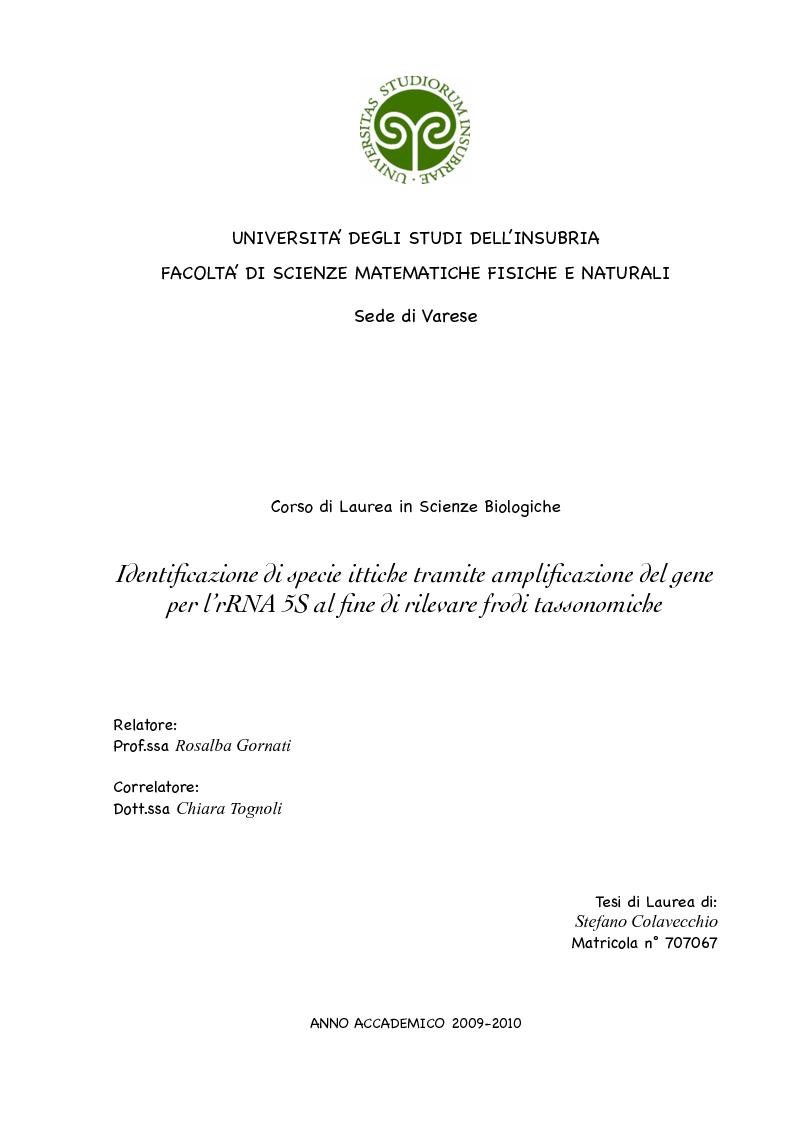 Anteprima della tesi: Identificazione di specie ittiche tramite amplificazione del gene per l'rRNA 5S al fine di rilevare frodi tassonomiche, Pagina 1