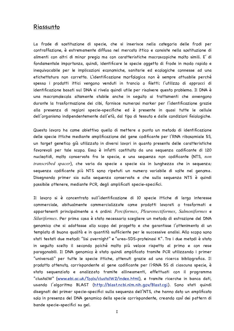 Anteprima della tesi: Identificazione di specie ittiche tramite amplificazione del gene per l'rRNA 5S al fine di rilevare frodi tassonomiche, Pagina 2
