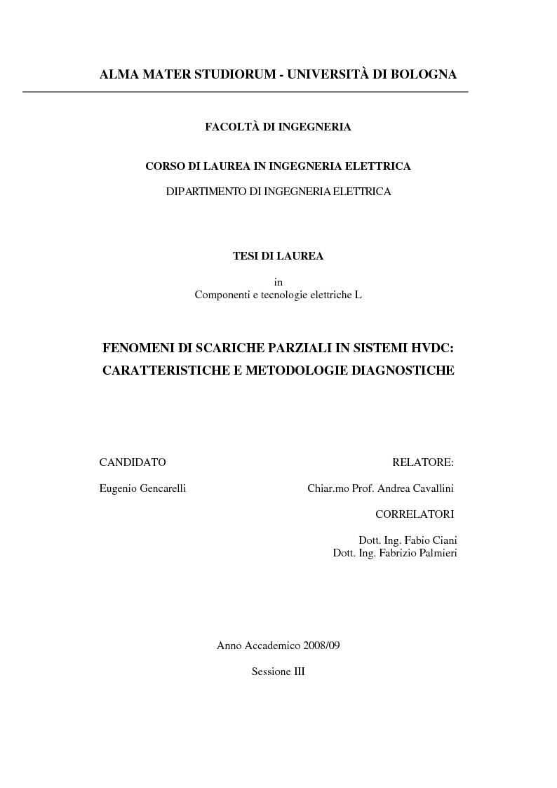 Anteprima della tesi: Fenomeni di scariche parziali in sistemi HVDC: caratteristiche e metodologie diagnostiche, Pagina 1