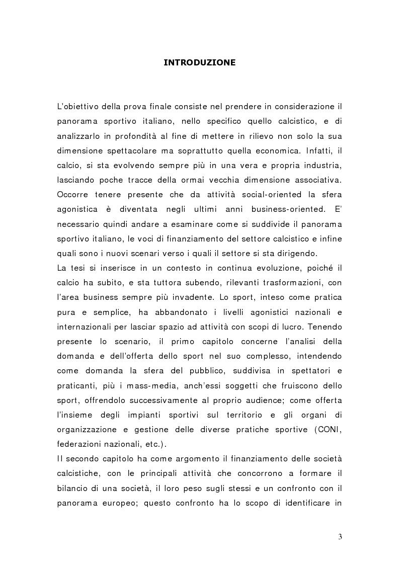 Anteprima della tesi: Il settore del calcio professionistico in Italia: spettacolo e business, Pagina 2