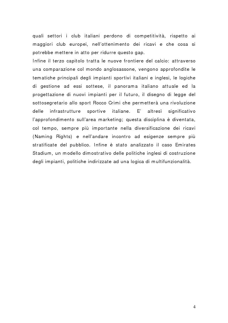 Anteprima della tesi: Il settore del calcio professionistico in Italia: spettacolo e business, Pagina 3