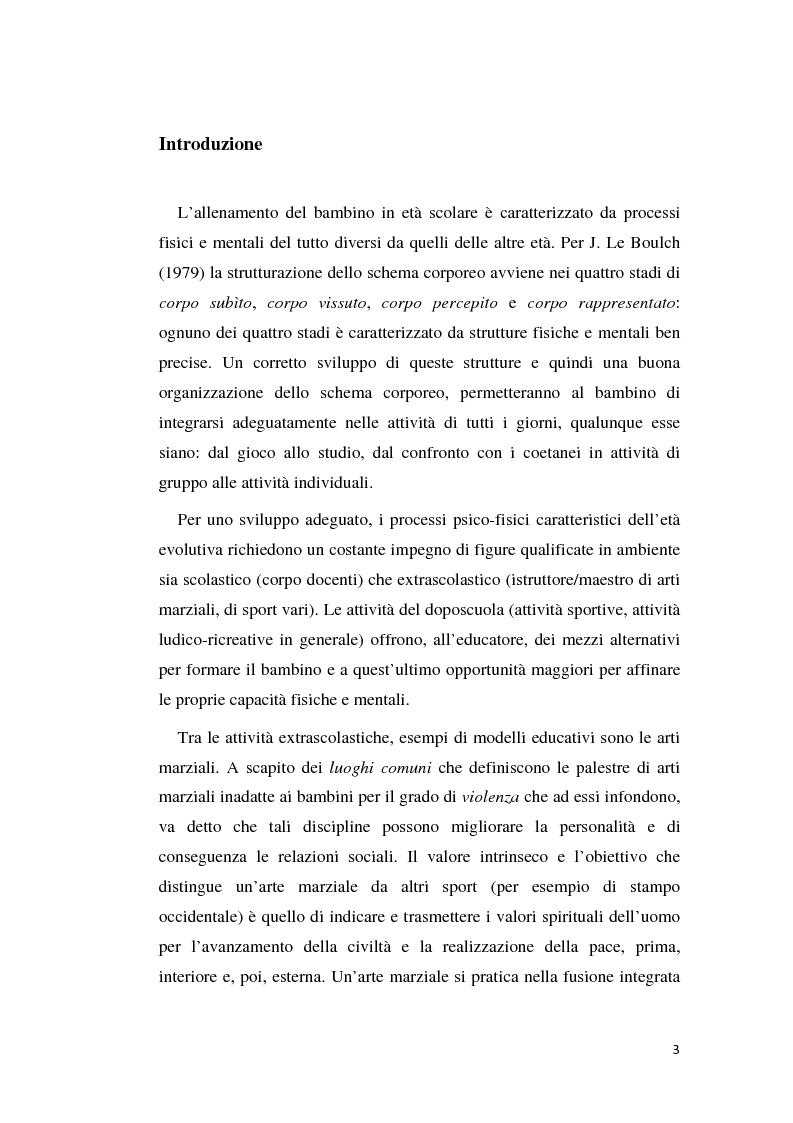Formazione psicofisica e modelli educativi: le arti marziali nella 3^ infanzia - Tesi di Laurea