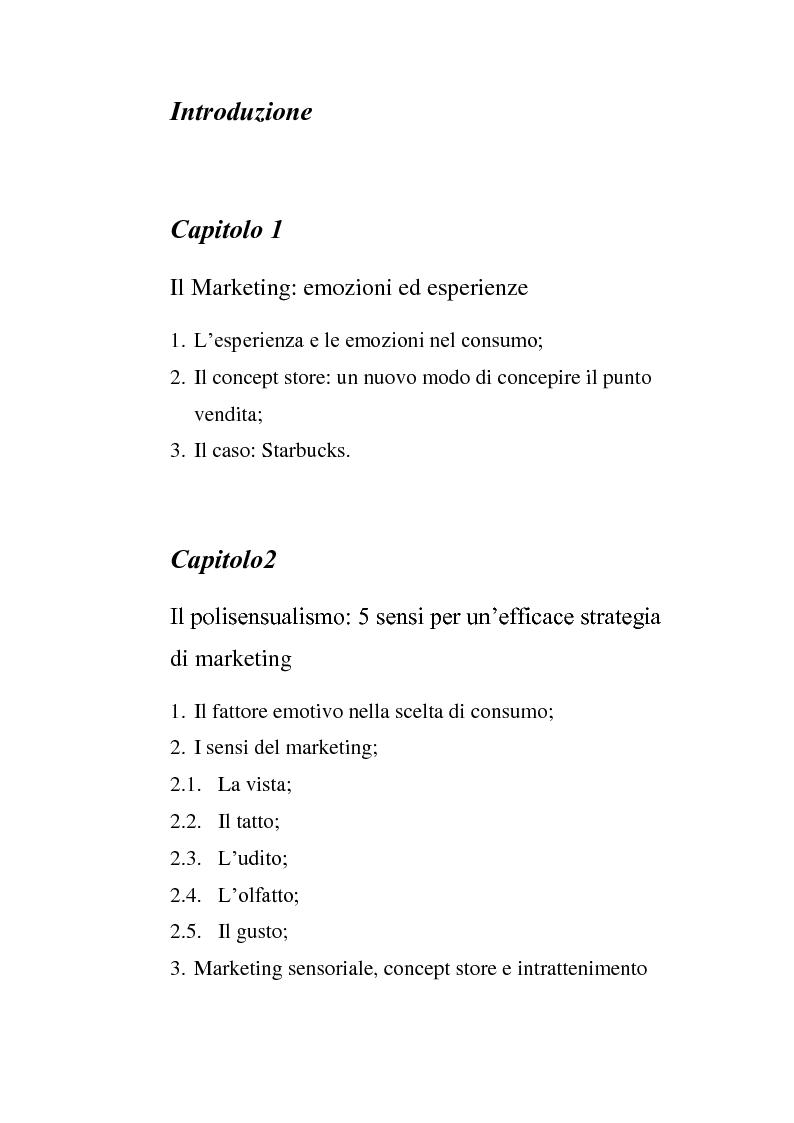 Indice della tesi: Le nuove frontiere del marketing: esperienze, emozioni, sensi e nostalgia, Pagina 1