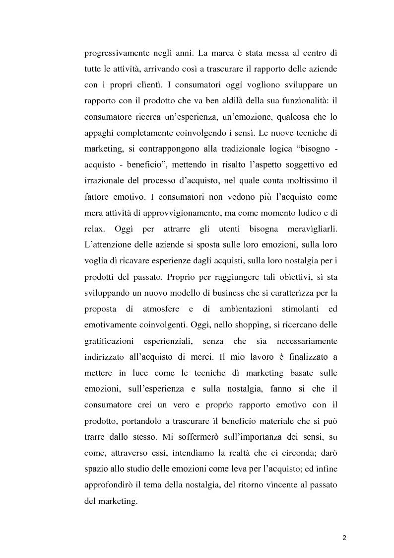 Anteprima della tesi: Le nuove frontiere del marketing: esperienze, emozioni, sensi e nostalgia, Pagina 3