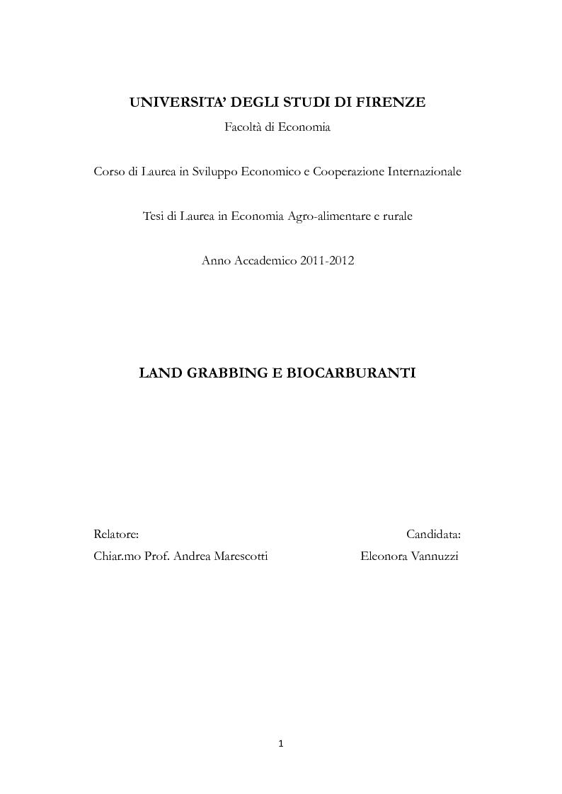 Anteprima della tesi: Land Grabbing e biocarburanti, Pagina 1