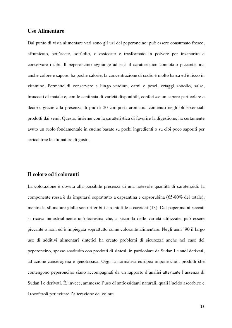 Estratto dalla tesi: Effetto dei Processi Industriali sul Contenuto in Capsaicinoidi di Peperoncini coltivati in Emilia Romagna