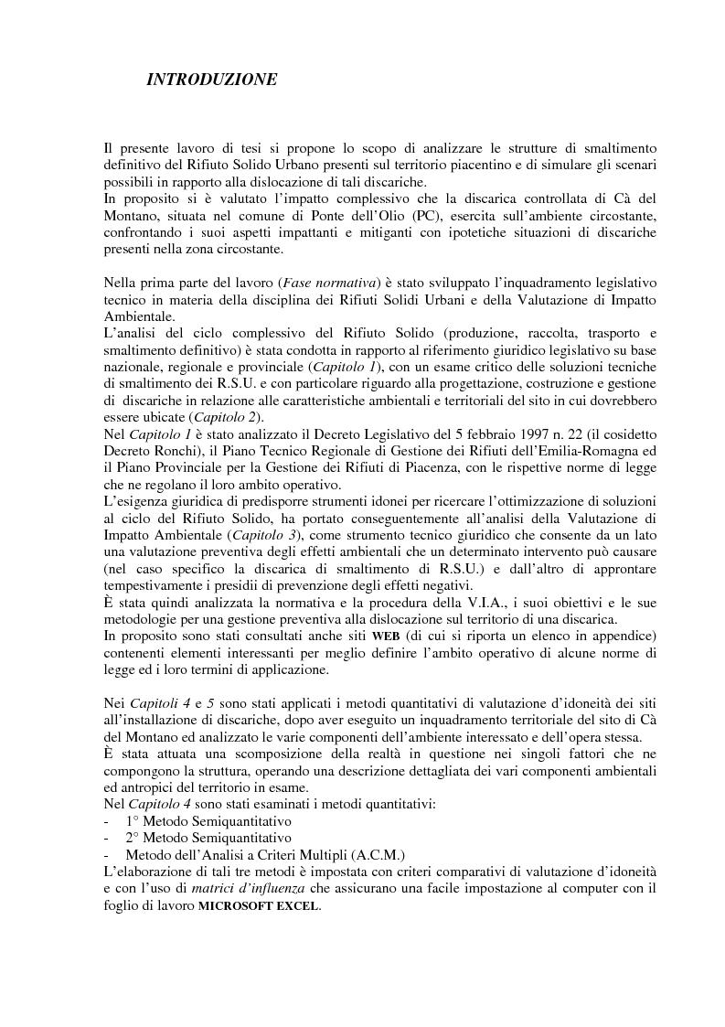 Anteprima della tesi: Criteri di scelta ottimali per la dislocazione di discariche di rifiuti solidi urbani sul territorio, Pagina 1