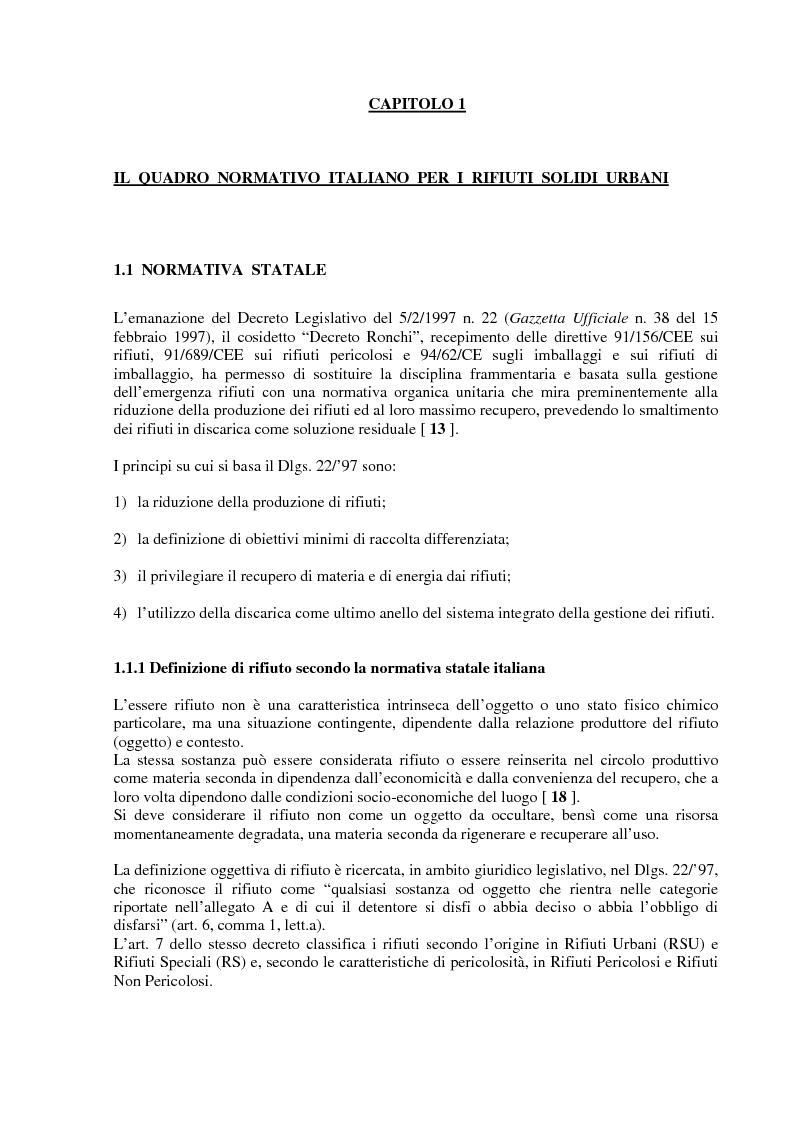 Anteprima della tesi: Criteri di scelta ottimali per la dislocazione di discariche di rifiuti solidi urbani sul territorio, Pagina 3