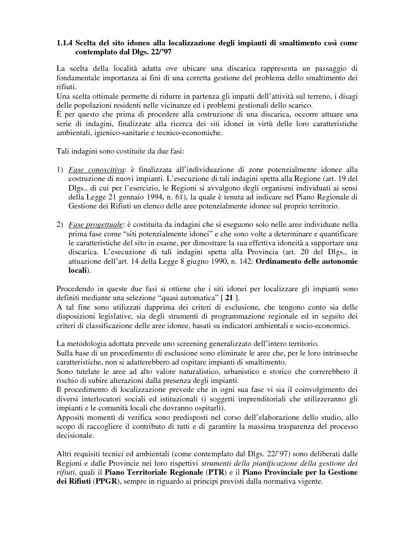 Anteprima della tesi: Criteri di scelta ottimali per la dislocazione di discariche di rifiuti solidi urbani sul territorio, Pagina 6