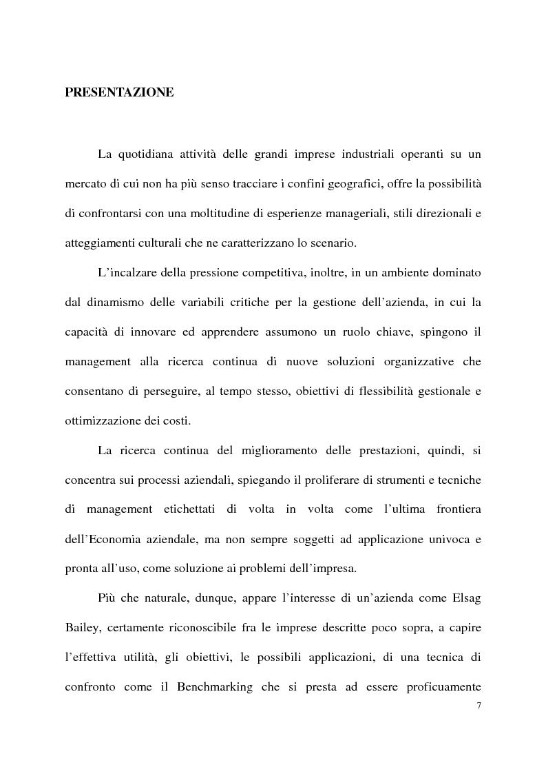 Anteprima della tesi: Benchmarking come strumento a supporto del cambiamento organizzativo. L'ipotesi di applicazione in Elsag Bailey., Pagina 1