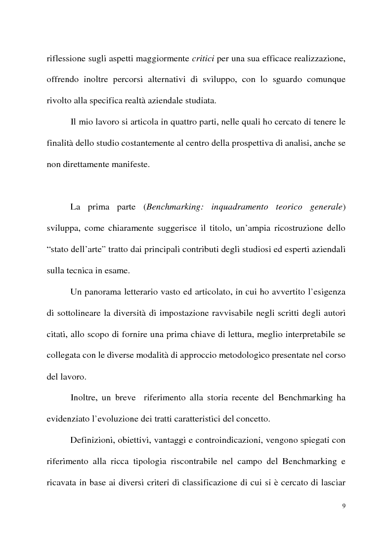 Anteprima della tesi: Benchmarking come strumento a supporto del cambiamento organizzativo. L'ipotesi di applicazione in Elsag Bailey., Pagina 3