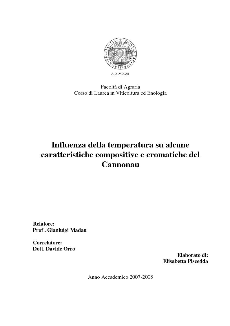 Anteprima della tesi: Influenza delle temperature su alcune caratteristiche compositive e cromatiche del Cannonau, Pagina 1