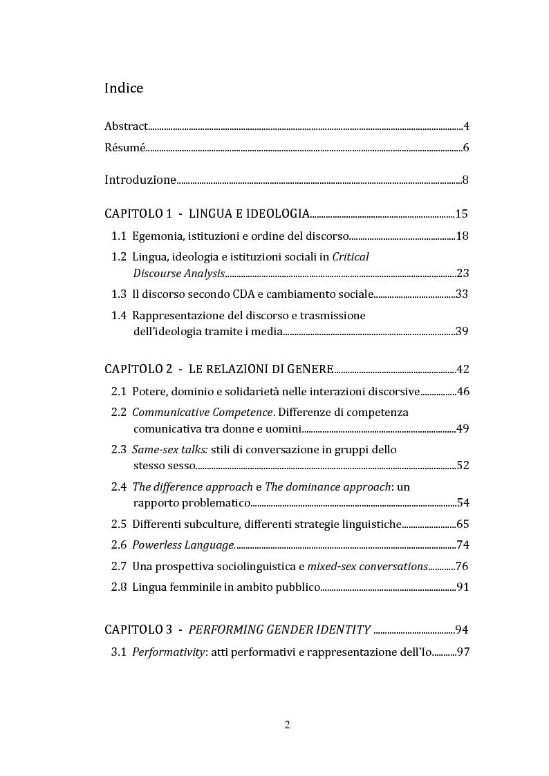 Indice della tesi: Lingua, Genere e Identità, Pagina 1